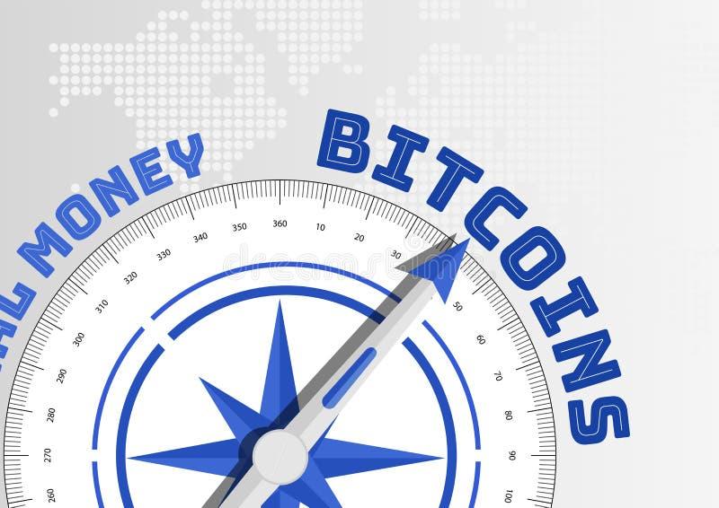 Bitcoin-Konzept mit dem Kompass, der in Richtung zum Text zeigt stock abbildung