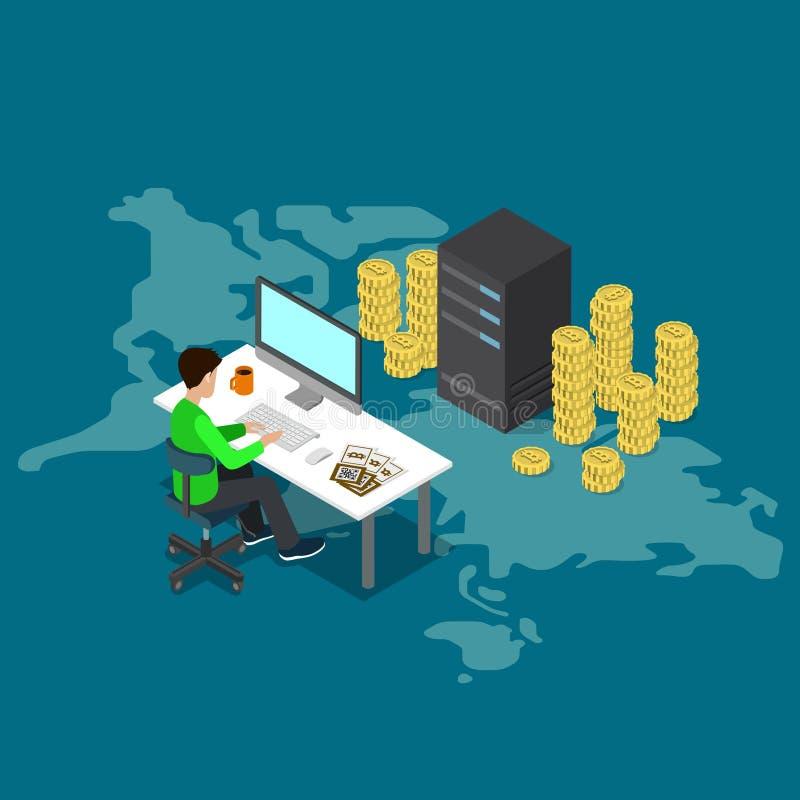 Bitcoin kopalnictwa kawałka monety usługa serweru online wektor isometric ilustracji