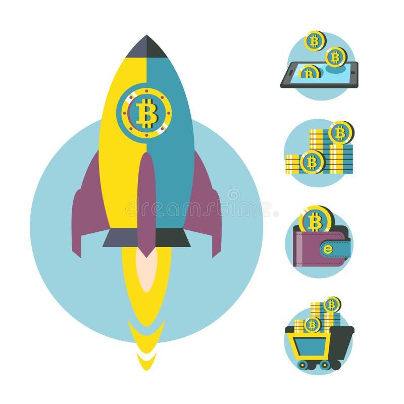 Bitcoin kopalnictwo Sterta bitcoin monety Nowożytny biznes i finanse również zwrócić corel ilustracji wektora royalty ilustracja