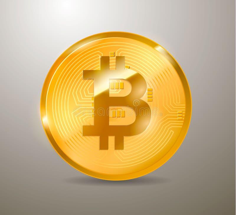Bitcoin Läkarundersökningbitmynt Digital valuta Cryptocurrency Guld- mynt med bitcoinsymbol som isoleras på vit stock illustrationer