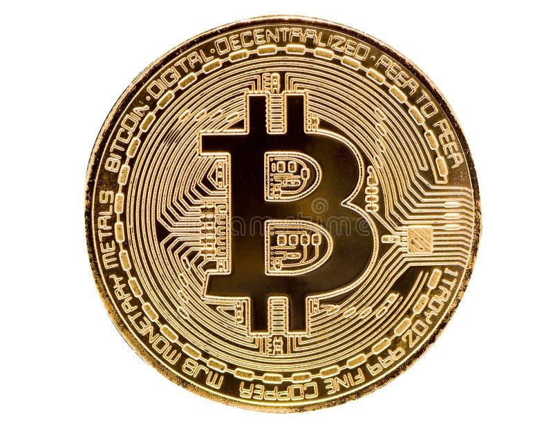 Bitcoin Läkarundersökningbitmynt Digital valuta Cryptocurrency Guld- mynt med bitcoinsymbol som isoleras på vit bakgrund arkivfoton