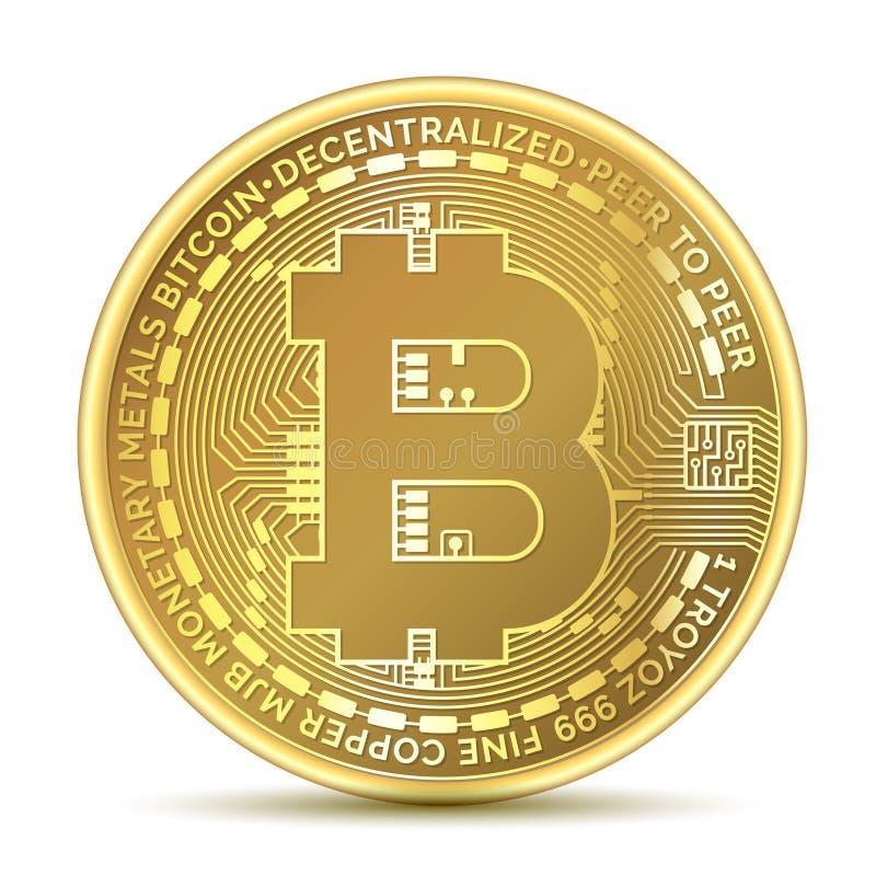 Bitcoin Läkarundersökningbitmynt Digital valuta Cryptocurrency Isolerat guld- mynt med bitcoinsymbol stock illustrationer