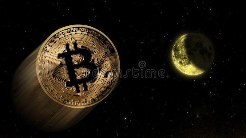 Bitcoin a la luna, comercio conceptual de un valor del aumento explosivo del bitcoin crypto digital de la moneda ilustración del vector