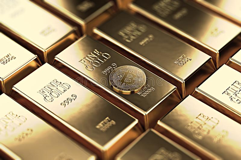 Bitcoin laying on stacked gold bars gold ingots rendered with shallow depth of field. Bitcoin as desirable as gold concept. 3D rendering stock illustration