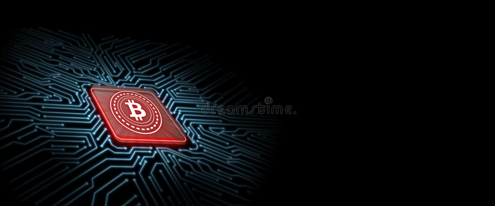 Bitcoin led glow on red computer chip with circuit board background. Concept of microchip technology vector illustration