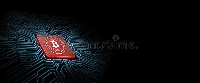 Bitcoin ledde glöd på den röda datorchipen med bakgrund för strömkretsbrädet Begrepp av mikrochipsteknologi vektor illustrationer