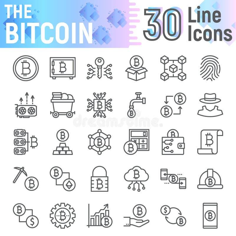 Bitcoin-Linie Ikonensatz, cryptocurrency Symbole vektor abbildung