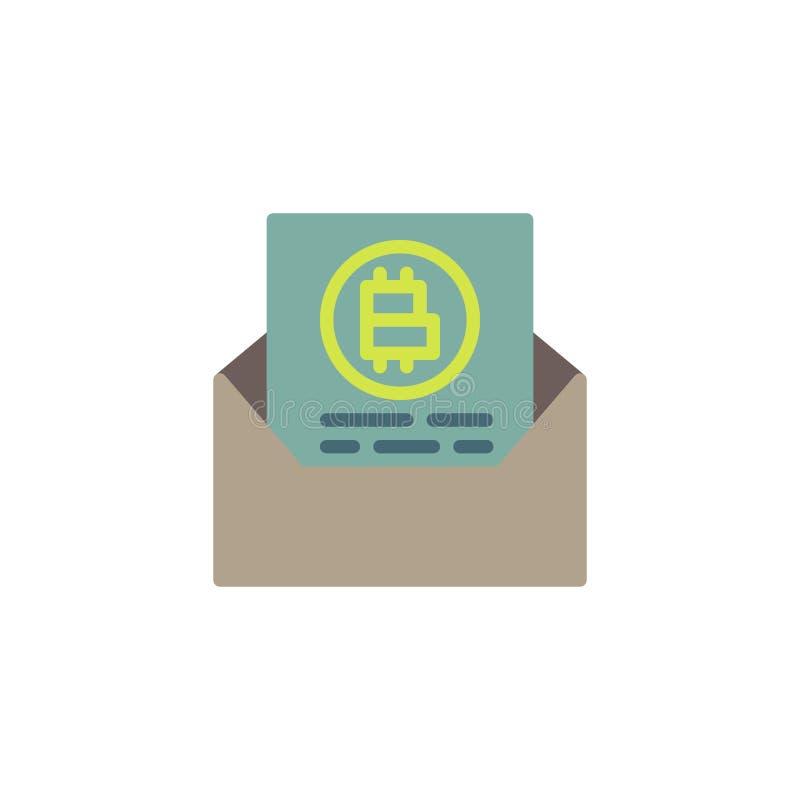 Bitcoin list z kopertową płaską ikoną royalty ilustracja