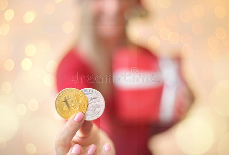 Bitcoin Litecoin圣诞节 免版税库存照片