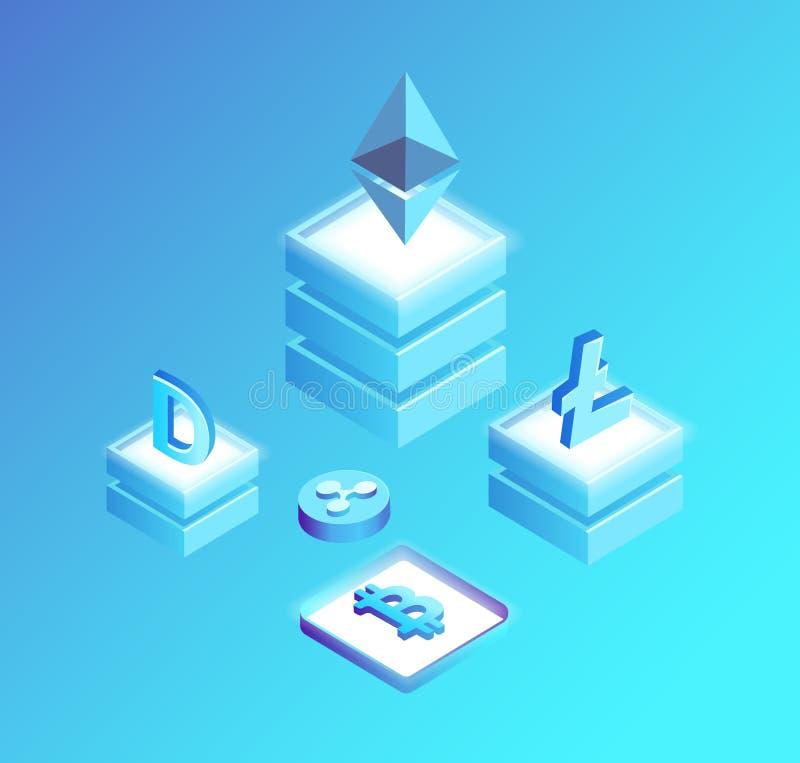 Bitcoin Litecoin, пульсация Ethereum и Dogecoin иллюстрация штока