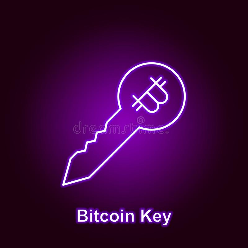 bitcoin lock outline icon in neon style. Element of cryptocurrency illustration icons. Signs and symbols can be used for web, logo royalty free illustration