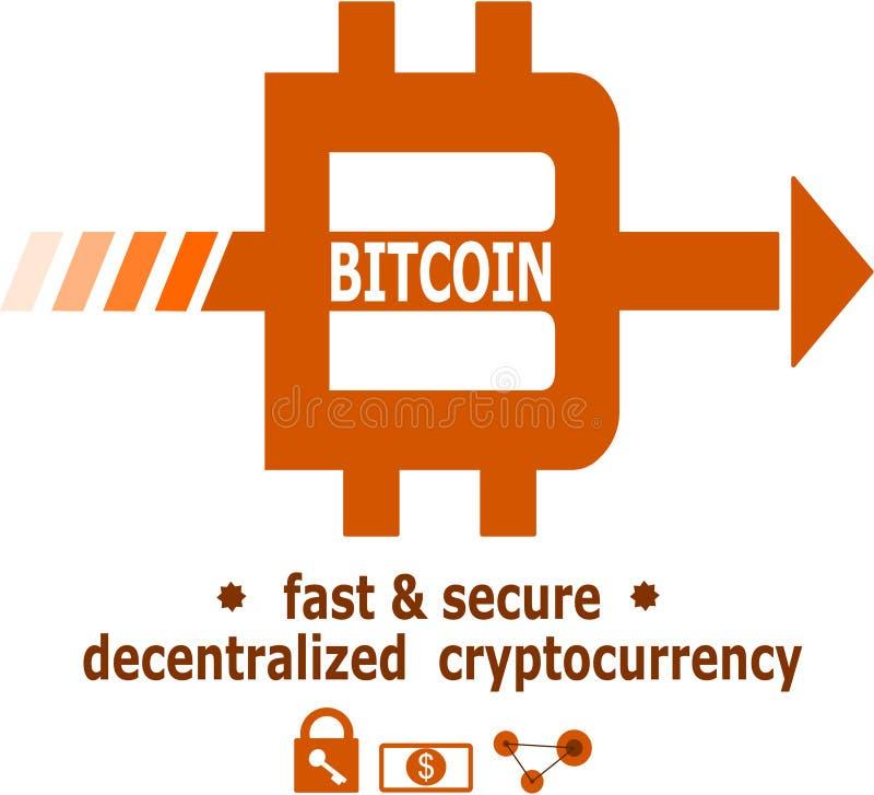Bitcoin loga unikalny projekt ilustracja wektor