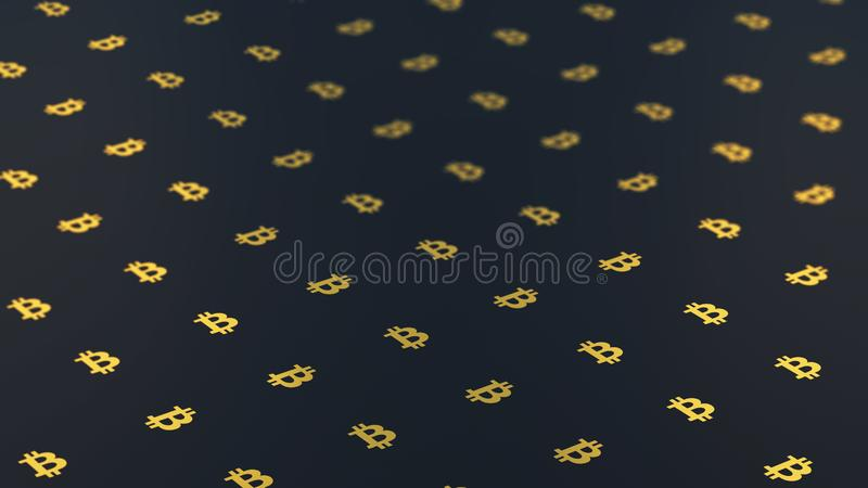 Bitcoin Logo On A Dark Background In 3D Stock Illustration ...