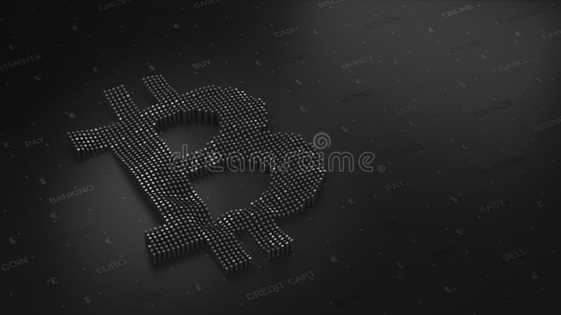 Bitcoin logo na ciemnym tle w 3D fotografia royalty free