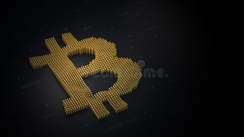 Bitcoin logo na ciemnym tle w 3D zdjęcie stock
