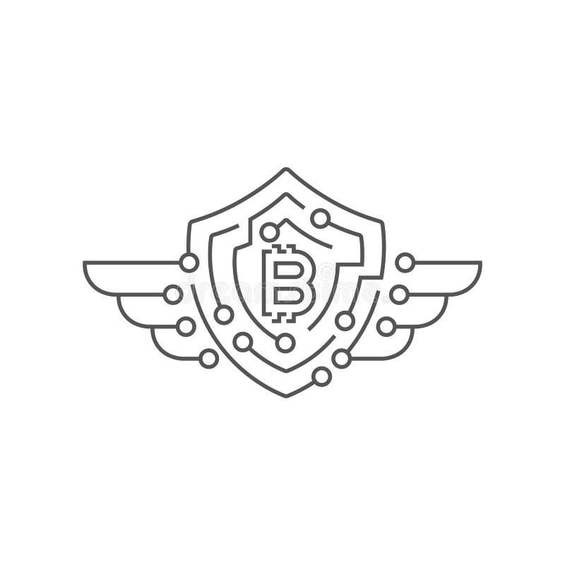 Bitcoin logotyp isolerad skyddswhite f?r begrepp 3d bild Redigerbar slagl?ngd royaltyfri illustrationer