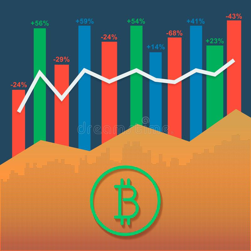 Bitcoin logotype cryptocurrency met de grafiek van de marktgroei en volumeskolommen vector illustratie