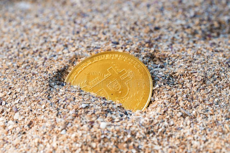 Bitcoin Lost In Sands of Time royalty free stock photography