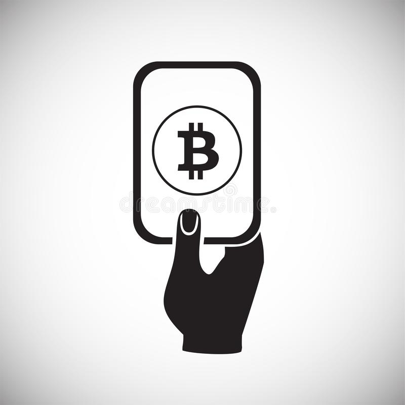 Bitcoin On Mobile Device On Black Background Stock Vector