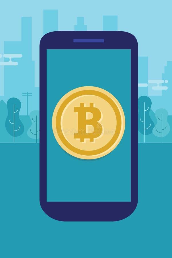 Bitcoin móvil en moneda electrónica del teléfono del pago de la transacción moderna elegante de la tecnología digital ilustración del vector