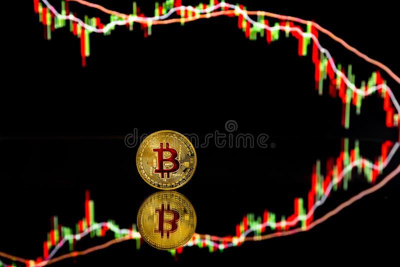 Bitcoin-Münzen mit globaler Handelsdevisenmarktpreistafel im Hintergrund stock abbildung