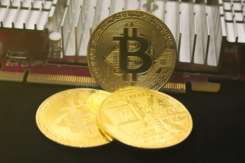 Bitcoin-M?nze auf der Videokarte Bergbau cryptocurrency Bitcoin gl?nzt lizenzfreies stockbild