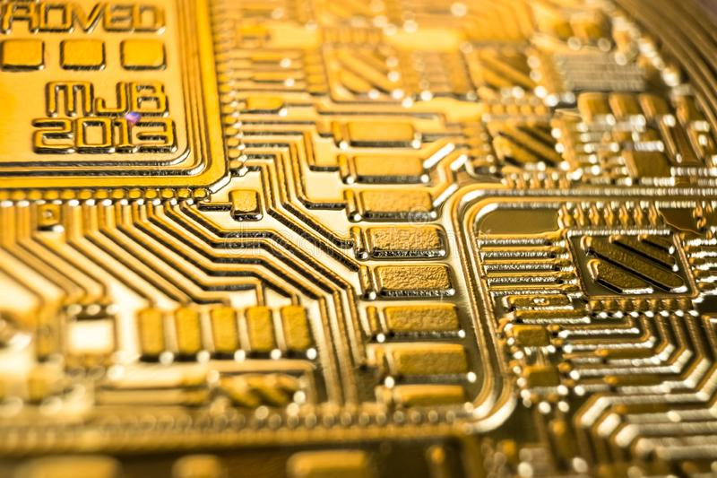 Bitcoin, macrofoto stock afbeelding