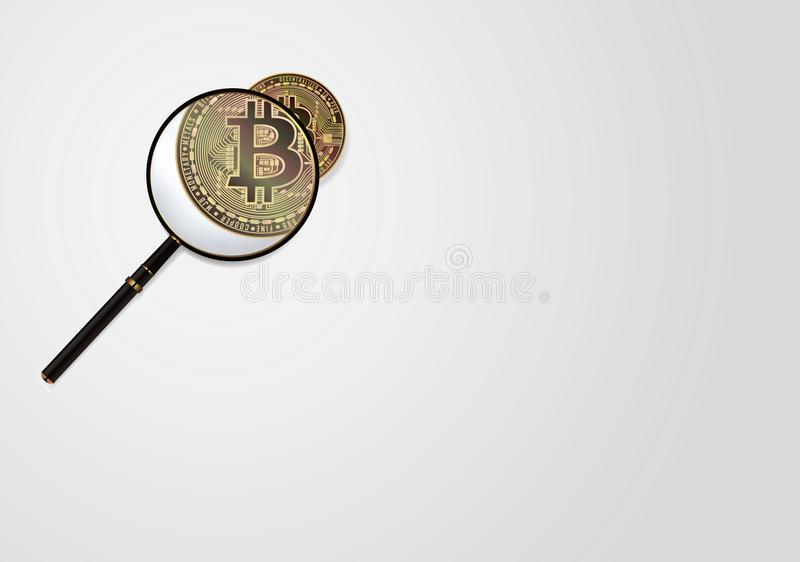 Bitcoin And Magnifying Glass Vector. Cryptocurrency Business Concept. Isolated Illustration. royalty free stock photo