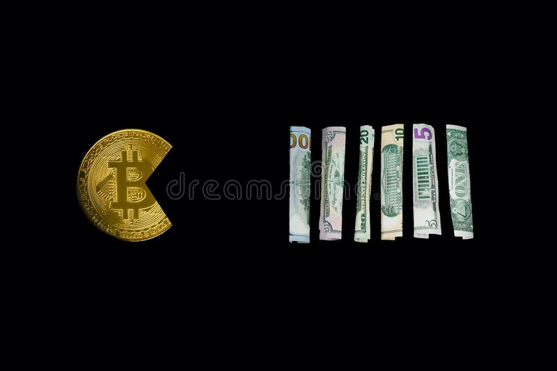 Bitcoin mangeant le dollar photos libres de droits