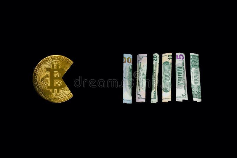 Bitcoin mangeant le dollar photos libres de droits