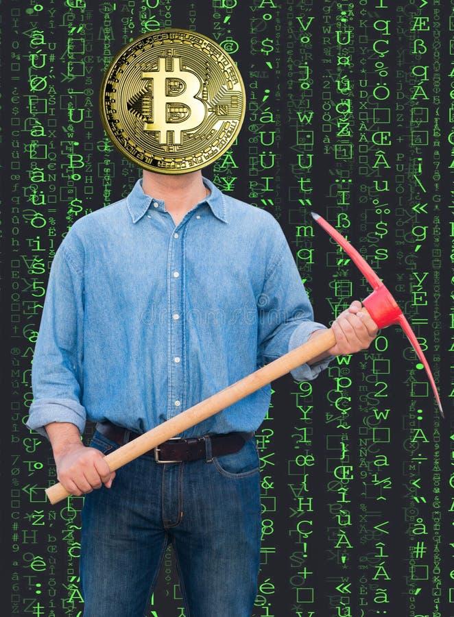 Bitcoin-Mann stockfoto