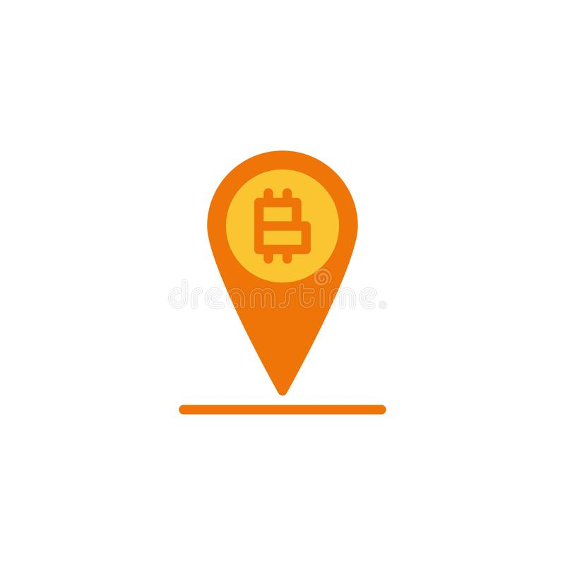 Bitcoin and map marker flat icon. Vector sign, Bitcoin location pin colorful pictogram isolated on white. Symbol, logo illustration. Flat style design vector illustration