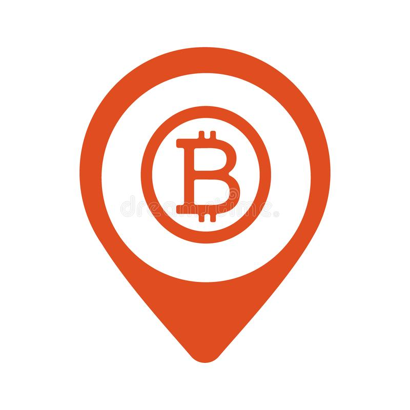 Bitcoin Map Marker icon. Vector style is flat iconic symbol with rounded angles, orange color, white background. Eps10 stock illustration