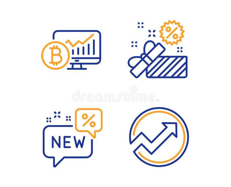 Bitcoin mapa, sprzedaż i Nowe ikony ustawiający, Rewizja znak Cryptocurrency statystyki, prezenta pudełko, rabat Strzałkowaty wyk royalty ilustracja
