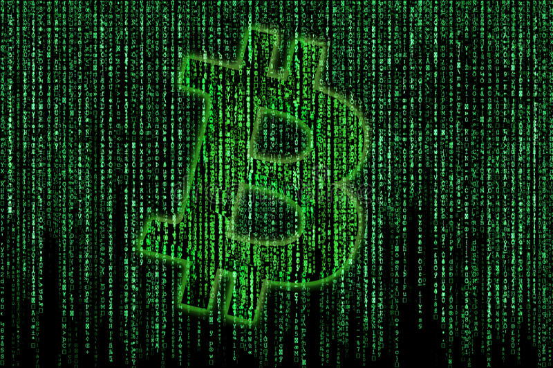 Bitcoin matrix stock illustration