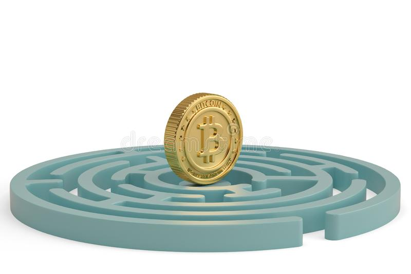 Bitcoin and maze on white background.3D illustration. vector illustration