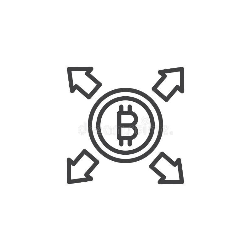 Bitcoin med all symbol för riktningspilöversikt vektor illustrationer