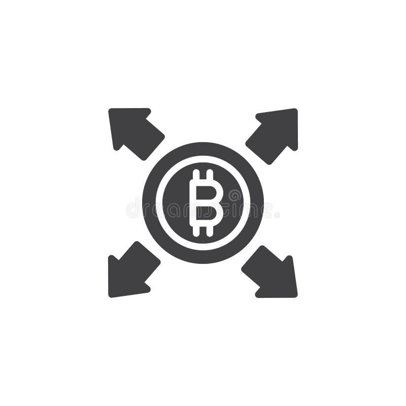 Bitcoin med all symbol för riktningspilvektor stock illustrationer