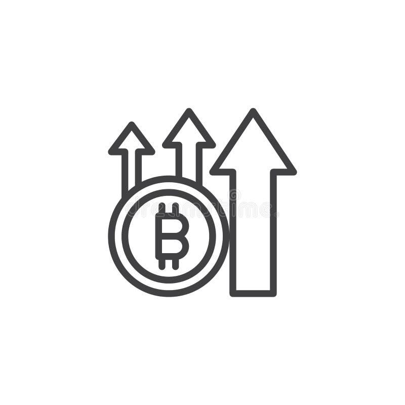 Bitcoin med den övre pilöversiktssymbolen stock illustrationer