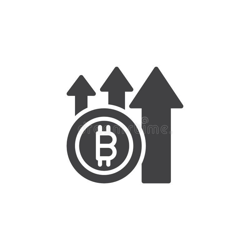 Bitcoin med den övre pilvektorsymbolen vektor illustrationer