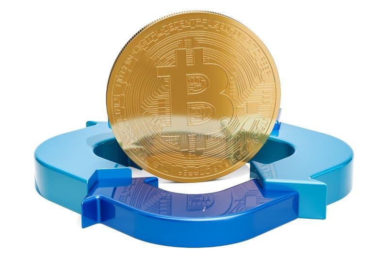 Bitcoin med diagrammet från pilar, tolkning 3D stock illustrationer