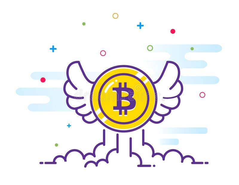 Bitcoin med illustrationen för vinglägenhet Bitcoin symbolsflyg i himlen Crypto valutabitmynt Cryptocurrency emblem vektor illustrationer