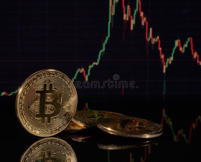 Bitcoin met een grafiek Cryptocurrency royalty-vrije stock afbeeldingen
