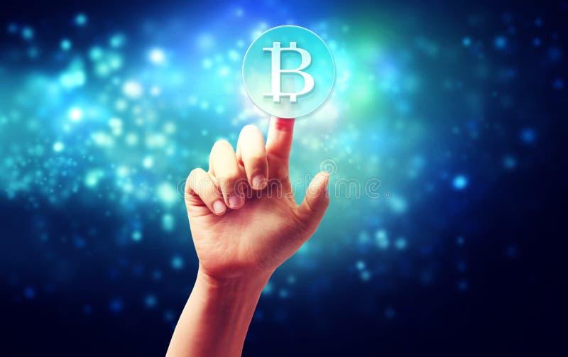 Bitcoin met hand stock afbeeldingen