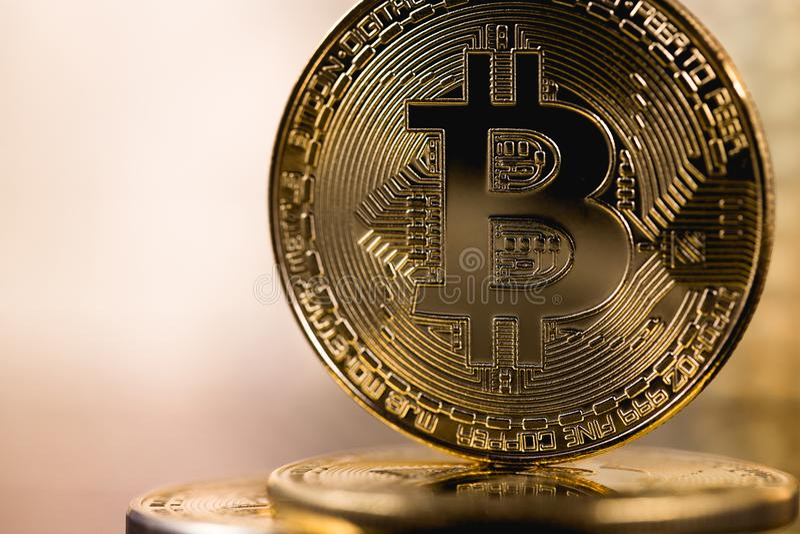 Bitcoin metall coin logo royalty free stock images