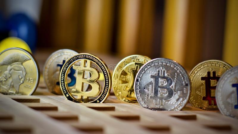 Bitcoin metalu moneta zdjęcia stock