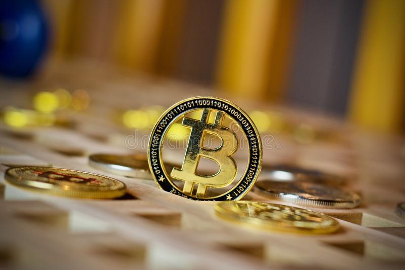 Bitcoin metalu moneta obrazy stock