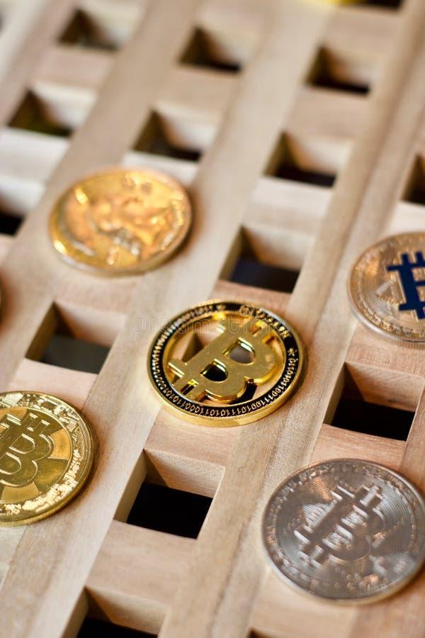Bitcoin metalu moneta fotografia stock