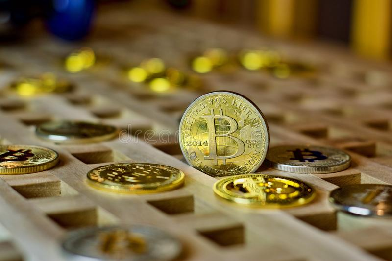 Bitcoin metalu moneta zdjęcia royalty free