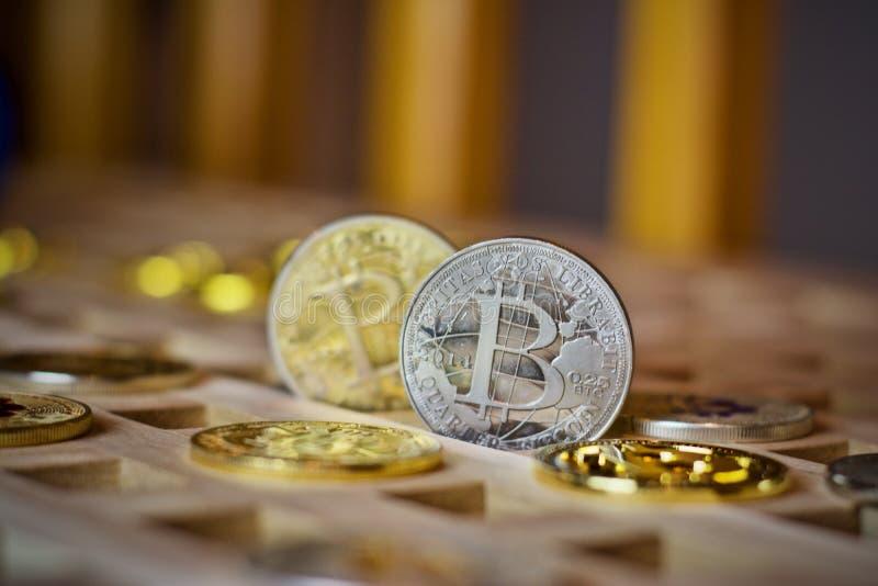 Bitcoin metalu moneta obrazy royalty free